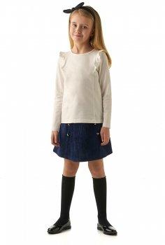 eef339aa878 Блузка для девочки с длинным рукавом. Украшена декоративными воланами.  Состав  92% хлопок 8% лайкра. Цена  710 руб.